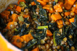 Recipe for Spicy Lentils with Sweet Potatoes and Kale
