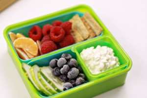 school lunch, raspberries, blueberries